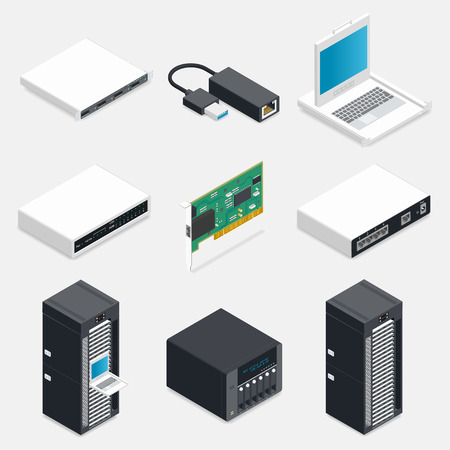 hub computer: Networking isometric detailed icons set vector graphic illustration