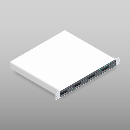 computer part: Rackmount server, isometric detailed icon vector graphic illustration
