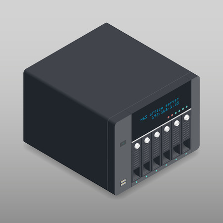attached: Network attached storage isometric detailed device vector graphic illustration Illustration