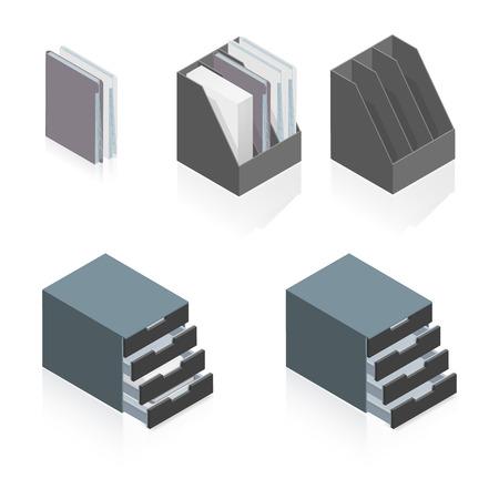 storage boxes: Folders and storage boxes detailed isometric set vector graphic illustration Illustration
