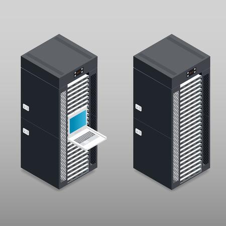 Server tower rack gedetailleerde isometrisch pictogram vector grafische illustratie Stock Illustratie