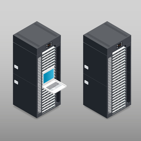 Server tower rack detailed isometric icon vector graphic illustration