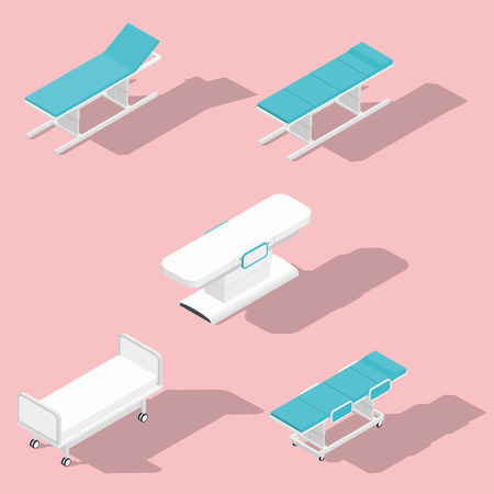 Medical couches operating and massage tables isometric detailed set vector graphic illustration Stock Illustratie