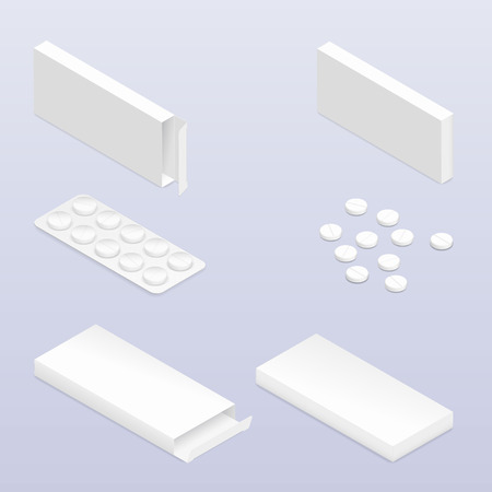 packaging: Tablets in blister and packaging detailed isometric icon set vector graphic illustration Illustration