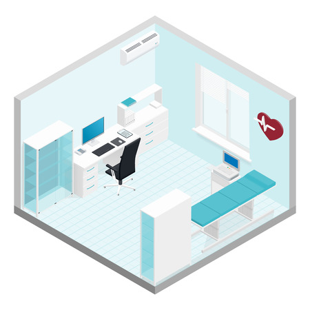 Cabinet cardiologist isometric room set vector graphic illustration