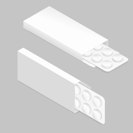 blister: Tablets in blister and packaging detailed isometric icon set vector graphic illustration Illustration