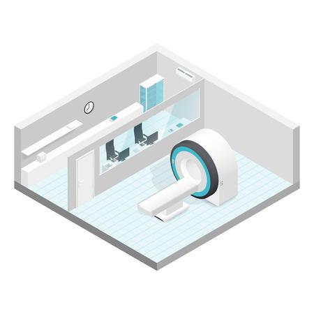 mri: Cabinet MRI isometric room set vector graphic illustration