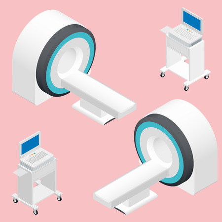 resonance: MRI and ECG medical devices isometric icon set vector graphic illustration Illustration