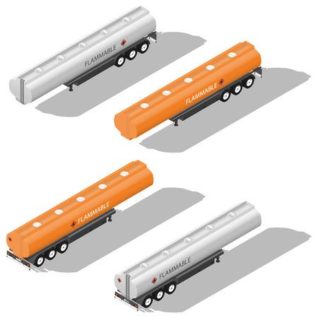 semitrailer: Semitrailer tanks for fuel detailed isometric icon set vector graphic illustration