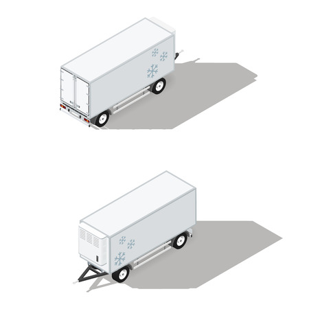 refrigeration: Trailer with a refrigeration chamber detailed isometric icons set vector graphic illustration Illustration