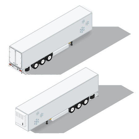 reefer: Semitrailer with a refrigeration chamber detailed isometric icons set vector graphic illustration