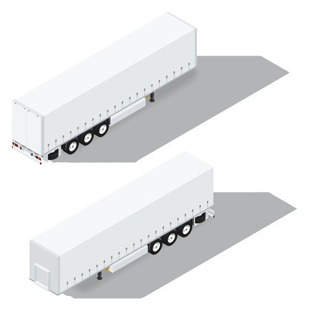 tarpaulin: Tarpaulin semitrailer isometric detailed icon vector graphic illustration
