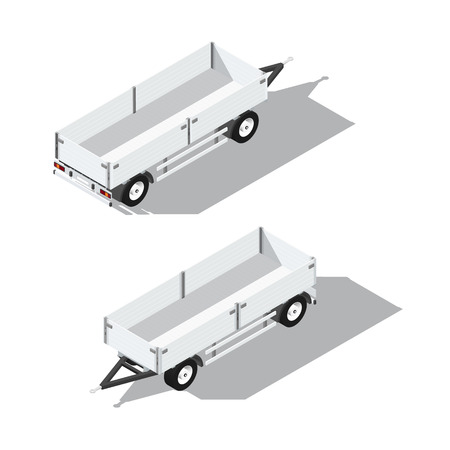 illsutration: Sider trailer isometric detailed icon vector graphic illsutration