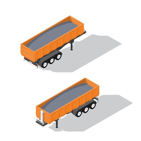 semitrailer: Semitrailer tipper detailed isometric icons set vector graphic illustration