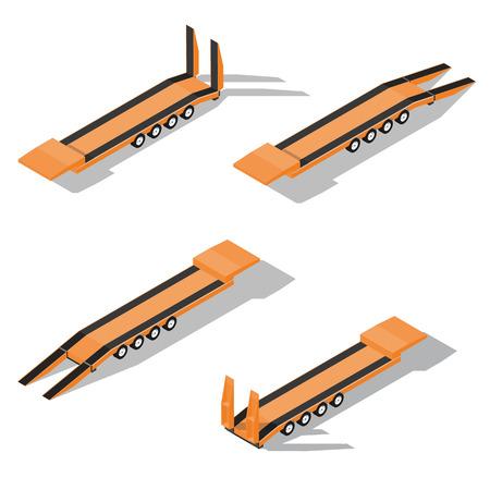trawl: trawl semitrailer isometric detailed icon vector graphic illustration Illustration