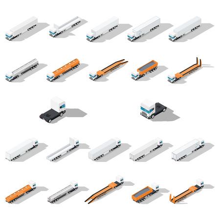 Vrachtwagens met opleggers gedetailleerde isometrisch icon set, voor- en achteraanzicht, vector grafische illustratie