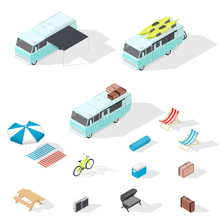 Motorhome and camping accessories isometric icons set vector graphic illustration Illustration