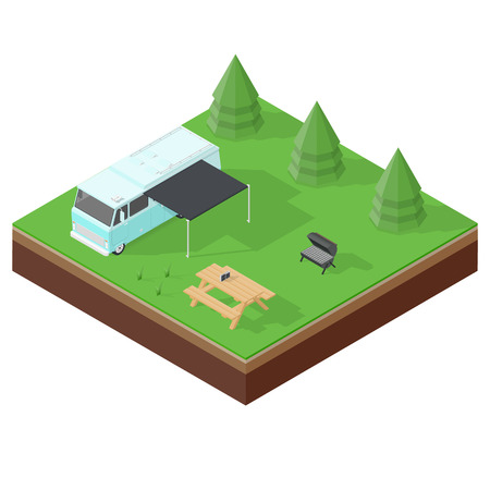 rv: Camping RV outdoor vacation isometric icon set vector graphic illustration
