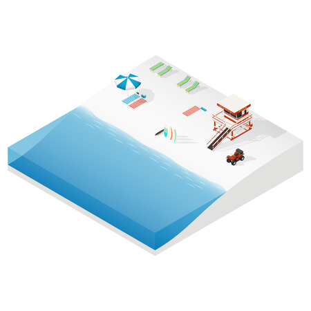 ison: Beach isometric ison set vector graphic illustration