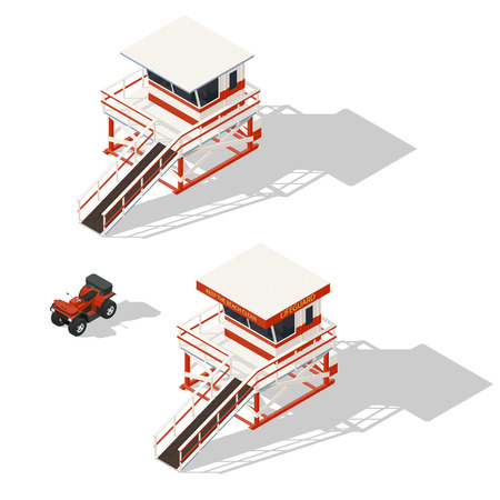quad: Lifeguard tower and quad bike isometric icons set vector graphic illustration Illustration