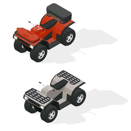 quad: Quad bikes isometric icons set vector graphic illustration