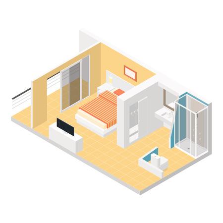 Hotelkamer isometrische gedetailleerde set vector grafische illustratie