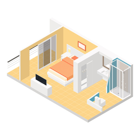 Hotel room isometric detailed set vector graphic illustration