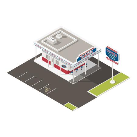 roadside: Roadside american diner isometric icons set vector graphic illustration