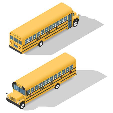 Schoolbus gedetailleerde isometrisch pictogrammen instellen frond en achteraanzicht grafische illustratie ontwerp Stock Illustratie