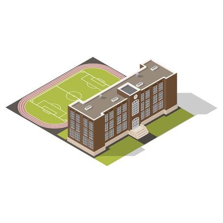 escuela edificio: Iconos isométricos Escuela gráfico establecer ilustración vectorial