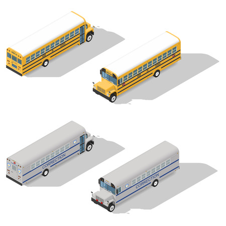 School and prison buses isometric detailed icon set vector graphic illustration Illustration