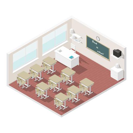 Classroom isometric icon set vector graphic illustration