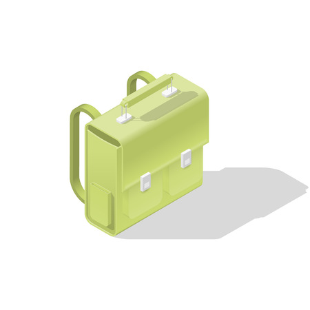 School bag isometric icon vector graphic illustration