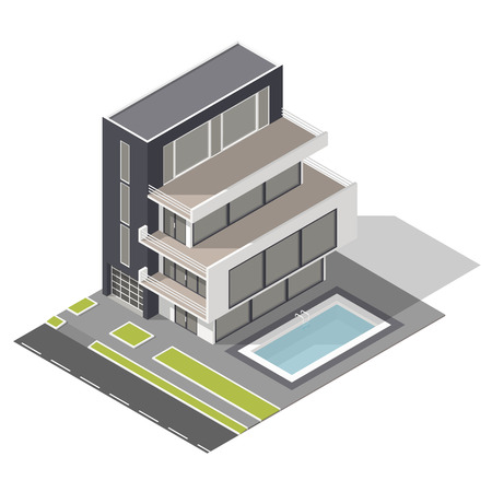 residential building: Modern residential building isometric icon set vector graphic illustration Illustration