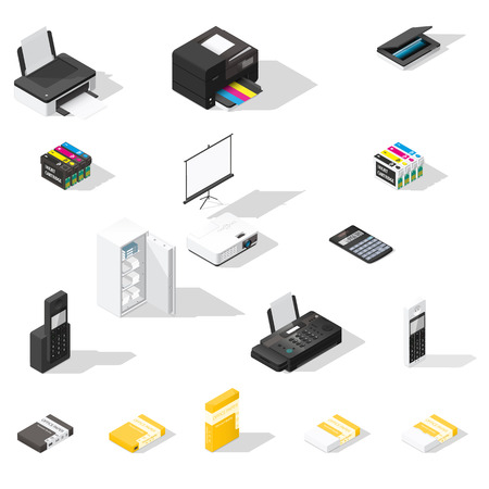 multifunction printer: Office detailed isometric icon set vector graphic illustration