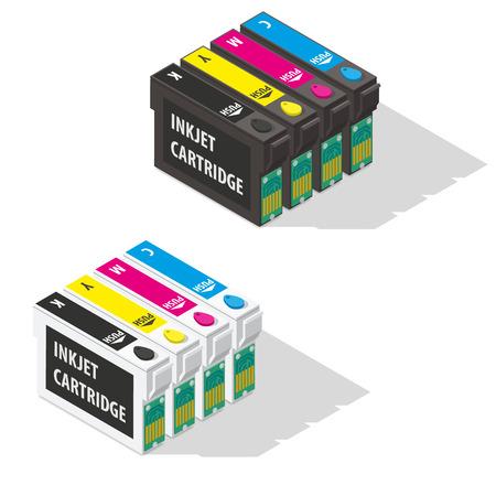 Ink jet cartridges isometric icon vector graphic illustration