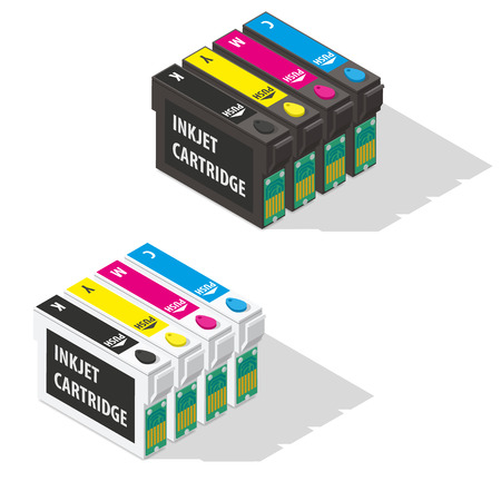 ink jet: Ink jet cartridges isometric icon vector graphic illustration