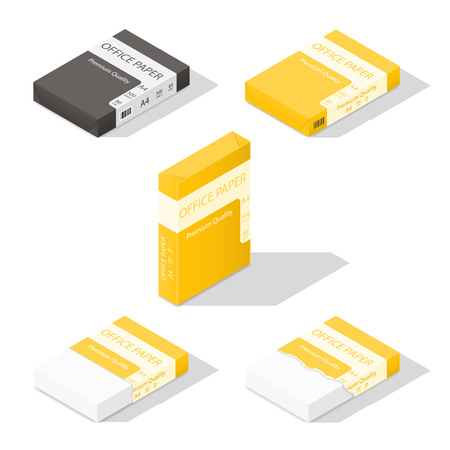 ison: Paper for copier isometric icon set vector graphic illustration