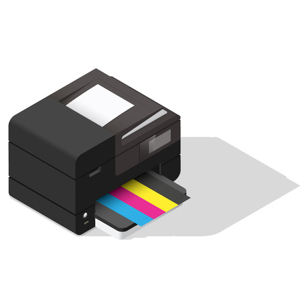 multifunction printer: Multifunction device detailed isometric icon vector graphic illustration Illustration