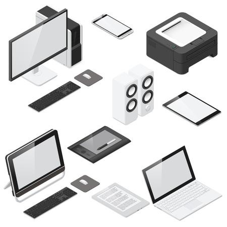 Computer en bureaumateriaal gedetailleerde isometrische pictogram vastgestelde vector grafische illustratie