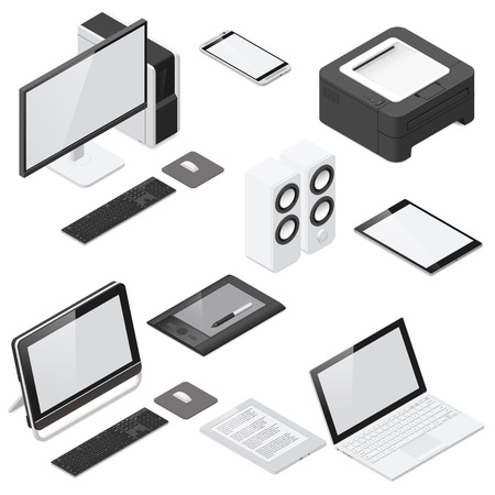 Computer and office devices detailed isometric icon set vector graphic illustration Illustration