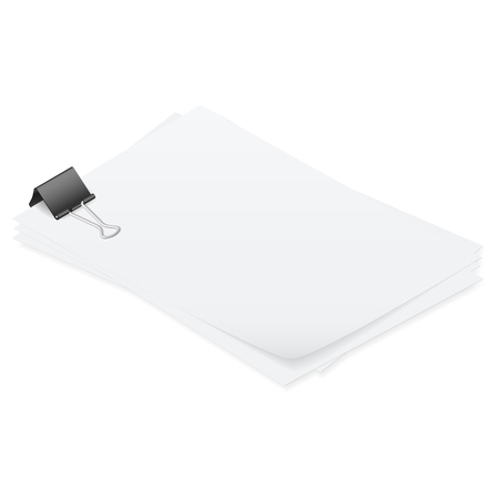 unevenly: Stack of papers held together smoothly isometric detailed set vector graphic illustration Illustration