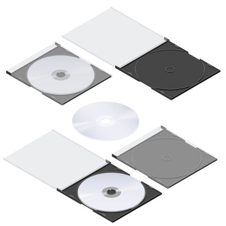 Compact disc isometric detailed set vector graphic illustration