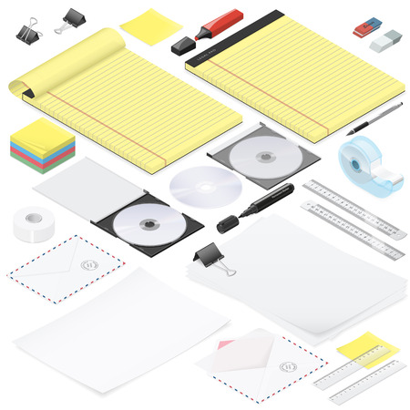 Office stationery detailed isometric icon set vector graphic illustration