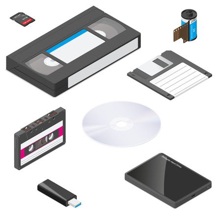 Storage media actual size proportions detailed isometric icon set vector graphic illustration