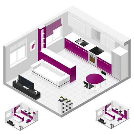 Studio appartement beschikt over een gecombineerde keuken en woonkamer isometrische icon set, drie variant van een koelkast, geschilderd in felle kleuren, vector grafische illustratie ontwerp