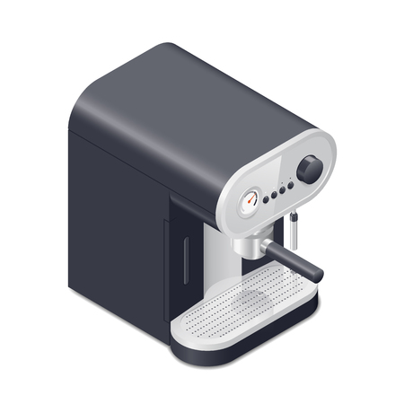 plating: Coffee maker carob isometric icon vector graphic illustration