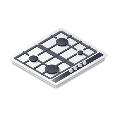 Gas-stove detailed isometric icon vector graphic illustration
