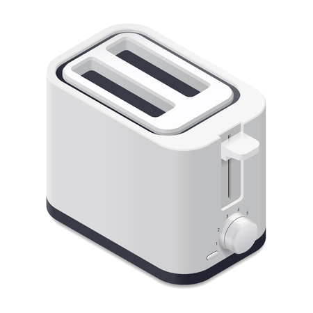 household objects: Toaster detailed isometric icon vector graphic illustration