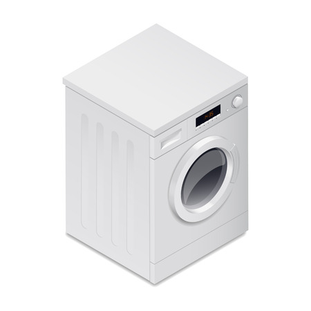 automatic machine: Washing mashine detailed isometric icon vector graphic illustration